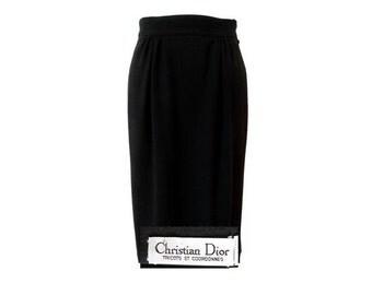 VTG christian Dior wool midi SKIRT// 80s midi lengh wool DIOR skirt // size eu 38- uk 10- us6