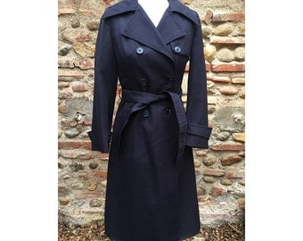 1970s french wool fitted TRENCH coat // size eu 38- uk 10- us 6