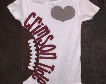 Personalized Heart OR Bow Tie Alabama Crimson Tide Team Football Bodysuit