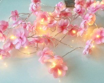 40 Cherry blossom fairy lights - led lights 40 led fairy lights - Flower string lights