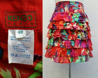 80/90's Kenzo skirt, with ruffles, bright colors like splashes of paint ! Hyper spanish, made for dancing ... Olé !!!