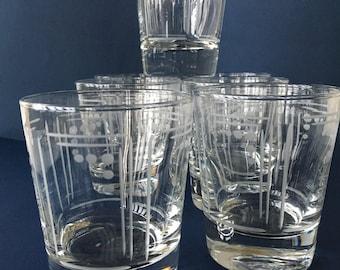Vintage Old Fashioned Glasses, Princess House, set of 7 | etched glassware, vintage barware, cocktail glasses, DOF glasses, libbey glasses