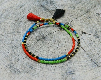 Seed bead Friendship Bracelet Tassel Beaded bracelet Boho Jewelry Сolourful Wrap Bracelet green blue red black Best Friend Gift for her thin