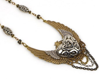 Angel Wing Necklace, Steampunk Statement Jewelry, Steampunk Wings Necklace, Heart and Wing Jewelry, Wings Necklace, Statement Necklace