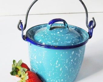 Berry Bucket with Lid / Smallest Enamelware Tin with matching Lid / Interesting Color / Adorable Size