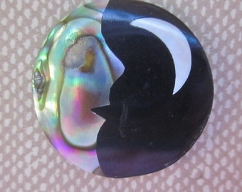 Man in the Moon with Crescent Moon Button.  Astronomical Button. Heavenly Bodies.  OneWomanRepurposed B 898