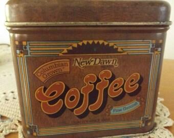 Vintage Cheinco New Dawn Coffee Tin, Retro Coffee Tin, Kitchen Accessory, Kitchen Table, 1970s Coffee Tin