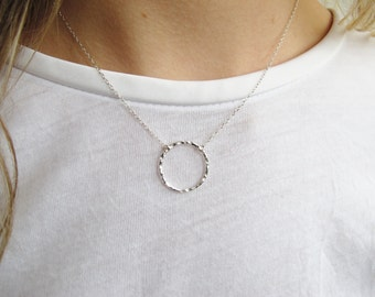 Hammered Circle Pendant Necklace | Circle Necklace | Eternity Necklace | Negative Space Jewellery  | Eco Friendly Jewellery