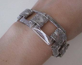 Van Lou Sterling silver vintage handcrafted chunky carved link bracelet