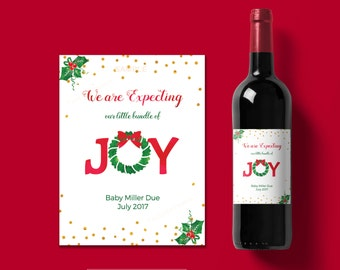 Christmas pregnancy announcement wine label - Printable wine label -Our bundle of joy - holiday pregnancy announcement-  #022