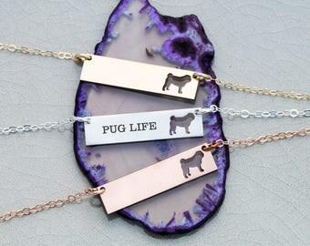 Pug Dog Bar Necklace • Pug Custom Silver Dog • Pug Gift Idea Silver Pet Memorial Rose Gold Pet Necklace Gold Pet Charm Pug Jewelry