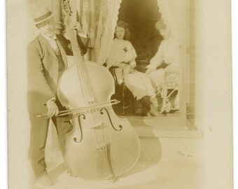 1900s Musician with Double Bass Real Photo Postcard Antique Vintage RPPC Victorian Edwardian