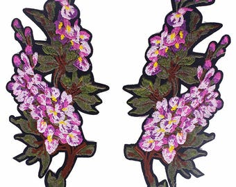 Lilac Floral Applique Pair of Fabric Patches