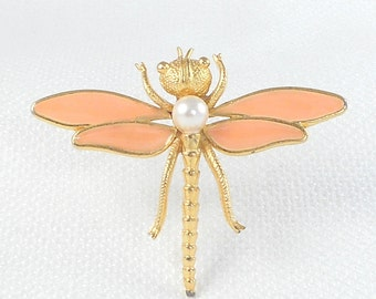 Vintage Dragonfly Firefly Pin Brooch Enamel Firefly Dragonfly Pin Enamel Pearl Firefly Pin Insect Pin 70's Firefly Dragonfly Pin Bug Pin