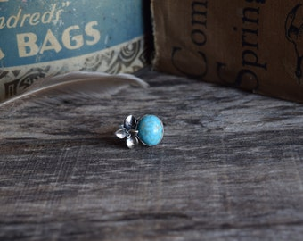 Turquoise Succulent Ring Sterling Silver Turquoise Ring Old Stock Kingman Turquoise Ring Metalwork Jewelry