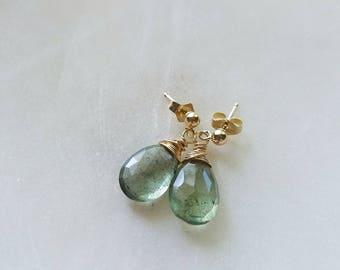 Moss Aquamarine Earrings, 14k Gold Filled Stud Earrings, Moss Aquamarine Stud Earrings, Gold Stud Earrings, 14K Gold Filled Earrings