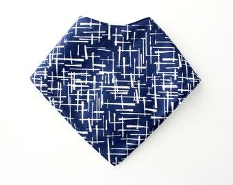 Blue navy crossroad bandana bib, drool bib, teething bib, triangle bib with snap buttons