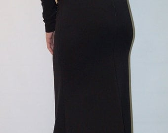Long Sleeve Maxi Dress /Open Back Black Dress/ Dolman Sleeve Extravagant Dress/F1429