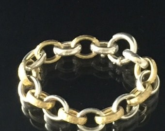 Silver Rolo Link Bracelet with Alternating Sterling Silver and Gold Plated Textured Large Rolo Links