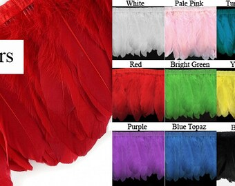 """11 Colors of Goose Feather Fringe Trim -  6"""" Long Feathers - Sold by the Yard - Elegant"""