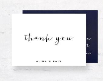 Wedding Thank you, Printable Thank you Card, Calligraphy Wedding Set, Printable Invitation Suite, Thank you Wedding Card, Wedding DIY