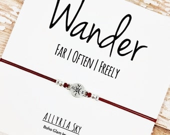 "Compass Friendship Bracelet with ""Wander"" Card | Best Friend Bracelet | Travel, Going Away, Graduation, Long Distance Gift | For Her, Him"