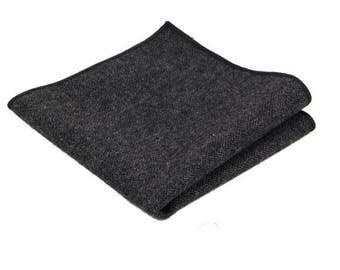 Dark Grey Herringbone Wool Pocket Square.Charcoal Herringbone Wool Hankies.Hankderchief.Gift Set.Mens Gifts