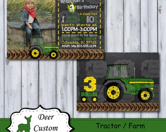 Farm Birthday Photo Invitation | Tractor Chalkboard Photo Birthday Invite | Chalkboard Farm Party | John Deere Birthday Party | Photo Invite