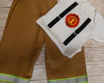 Baby Firefighter turnout gear outfit, baby Fire fighter Halloween costume, Fireman outfit, Fire Fighter's baby shower gift, Baby bunker gear