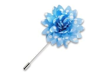 Wedding Lapel Pin Light Blue Polka Dot Boutonniere Fabric Flower Lapel Pin Floral Stick Pin Buttonhole Wedding Groomsmen Groomsman Posy