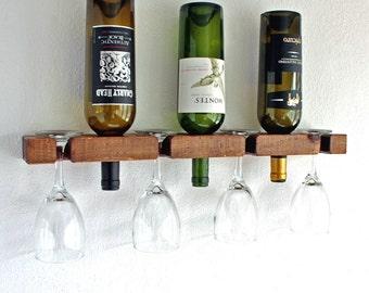 Rustic Wood Wine Rack and Stemware Holder Bar Shelf Unique