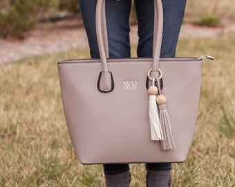 Monogrammed Faux Leather Purse | Monogrammed Handbag | Structured Purse | Monogrammed Purse | Gift for Her | Monogrammed Gift | The Savannah