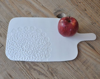 Large Board Doily Stamped Handmade Ceramic White Cheese Board, Serving Plate