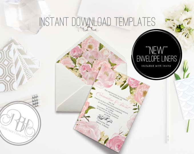 Peonies Wedding Invitation/Envelope Liner/INSTANT DOWNLOAD Template/5x7/PDF/Psd Editable Text Only/Pink Watercolor Peonie/-Juliet