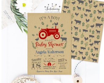 Tractor Baby Shower Invitation Kraft Background Boy Baby Shower Invitation Boy Farm Baby Shower Invitation Printable No.784BABY