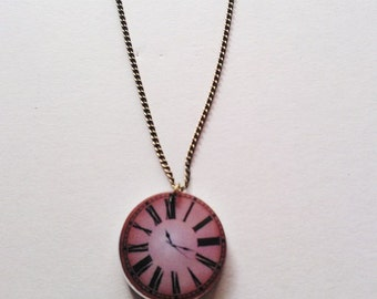 Steampunk Acrylic Clock Face Necklace