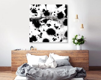Black and White art, abstract painting, ink art, large square canvas, bedroom wall art, gifts for artists, statement piece, big Canvas 16x16