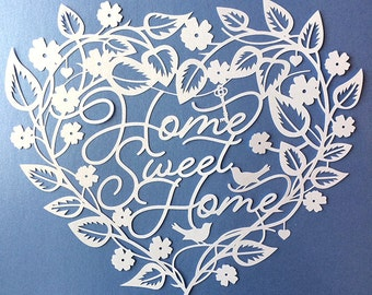 Papercut Template 'Home Sweet Home' New Home Love Wedding Gift PDF JPEG for handcut & SVG for Silhouette Cameo or Cricut