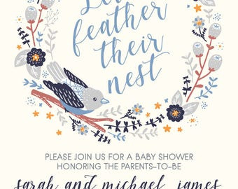 Let's Feather their Nest -- Baby Shower Invitation