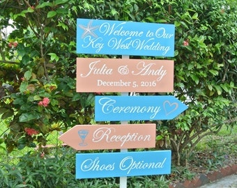 Welcome to our Wedding directional sign. Nautical beach wedding decor. Shoes Optional Key West sign. Destination Wedding Gift idea