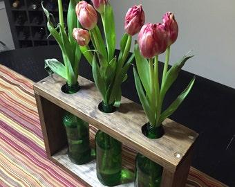 Wooden table centerpiece - wooden planter - beer bottle planter