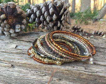 Coil bracelet - wrap bracelet - memory wire bracelet - bead bracelet