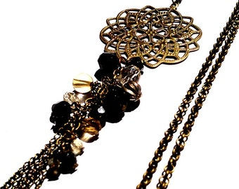 Tassel pendant necklace | Antique bronze filigree pendant and faceted beads | beaded dangle Necklace | vintage inspired romantic necklace |