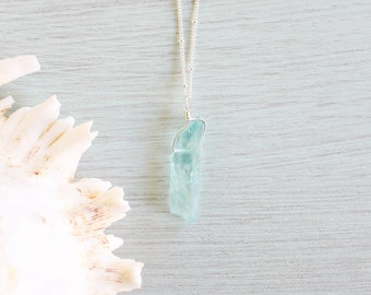Light Blue Crystal Quartz Necklace - Bright Blue / Green Crystal Pendant - Aqua Crystal Quartz Necklace - Pastel Blue Crystal Quartz