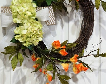 Grapevine Summer Wreath-Wreath with Light Green Hydrangeas and Orange Sweet Pea-Chevron Bow Wreath-Mother's Day Gift-Housewarming Gift