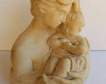 Stone Sculpture of Mother and Baby Signed Wm. Marotta 1969