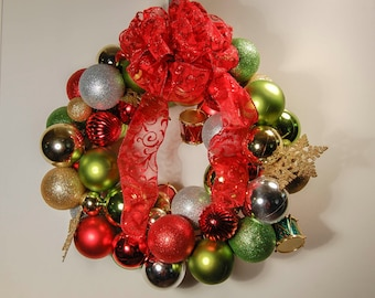 Christmas Ornament Wreath for Holiday Decor in Red, Green, Silver, and Gold with Snowflakes and Drums