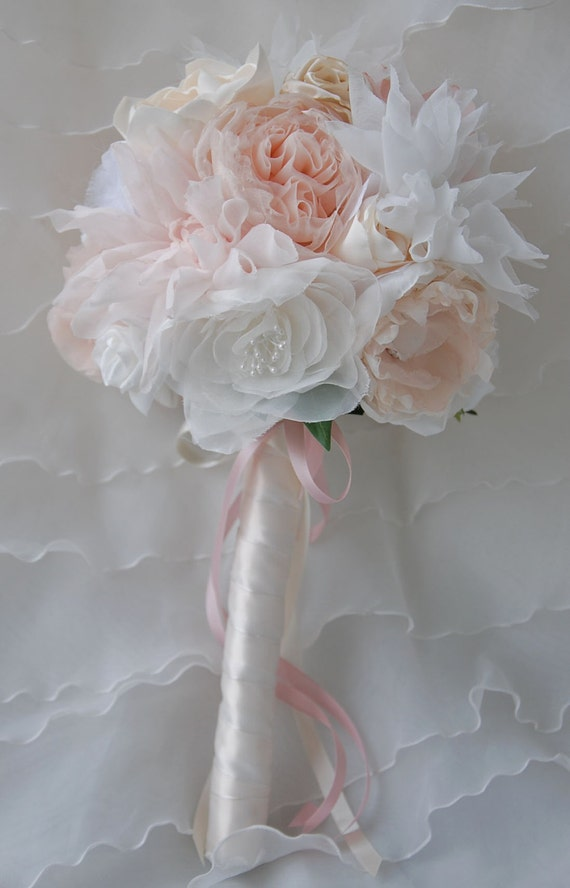 Fabric floral bridal bouquet;blush and ivory fabric bridal bouquet;bridal bouquet;handmade bouquet