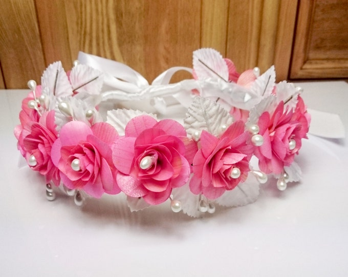 Wedding CROWN / WREATH wooden pink flowers faux pearls white leafs satin ribbon delicate for bride bridesmaid flower girl first communion