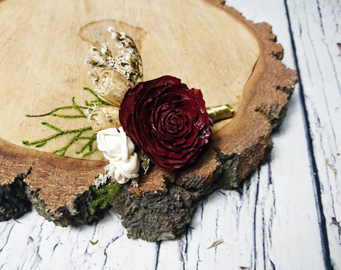 Cream brown burgundy green rustic wedding Rustic BOUTONNIERE groom groomsman, Sola Flower cedar rose dried limonium satin ribbon